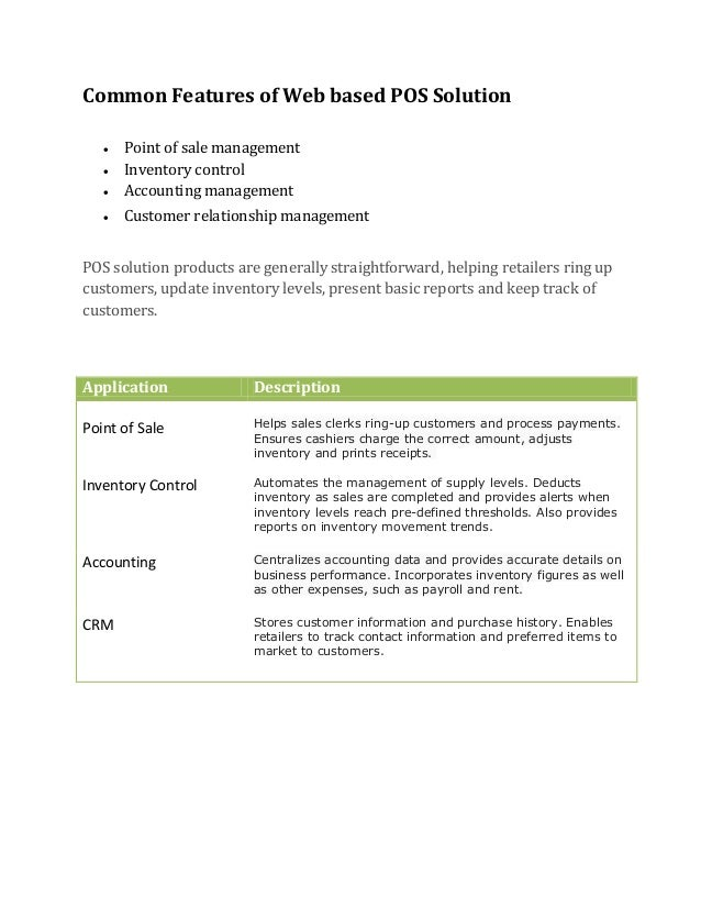 Proposal for Point of Sale and Inventory Management Systems