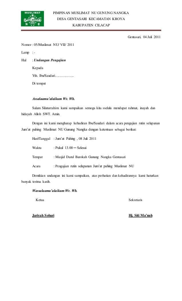 PIMPINAN MUSLIMAT NU GUNUNG NANGKA DESA GENTASARI KECAMATAN KROYA KABUPATEN CILACAP Gentasari, 04 Juli 2011 Nomor : 05/Mus...