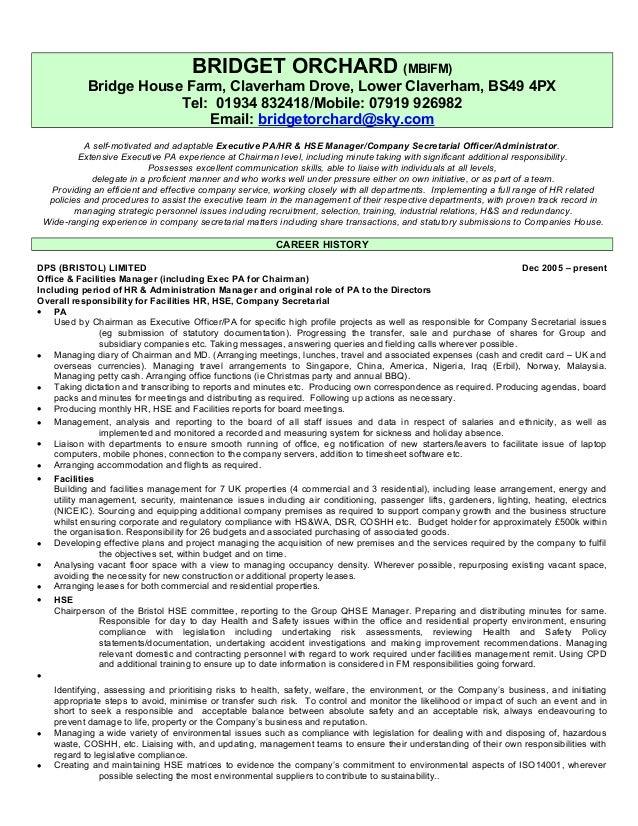 BRIDGET ORCHARD - G PA Admin Facilities HR Cosec HSE CV