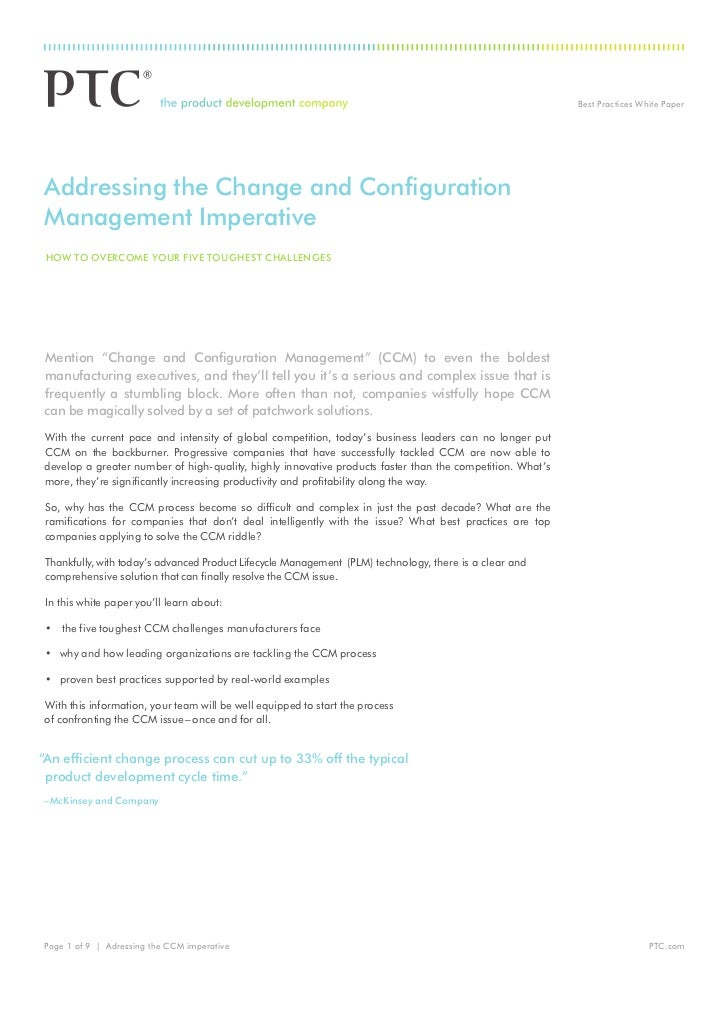 Best Practices White PaperAddressing the Change and ConfigurationManagement Imperative how to overCoMe your fIve toughest ...