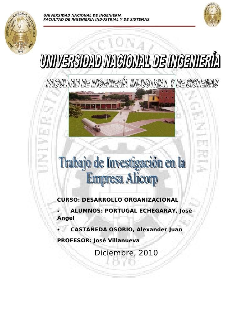 UNIVERSIDAD NACIONAL DE INGENIERIAFACULTAD DE INGENIERIA INDUSTRIAL Y DE SISTEMAS      CURSO: DESARROLLO ORGANIZACIONAL   ...