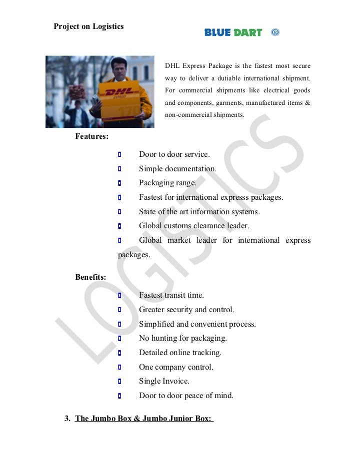 Project report on bluedart couriers at bangalores Essay Example
