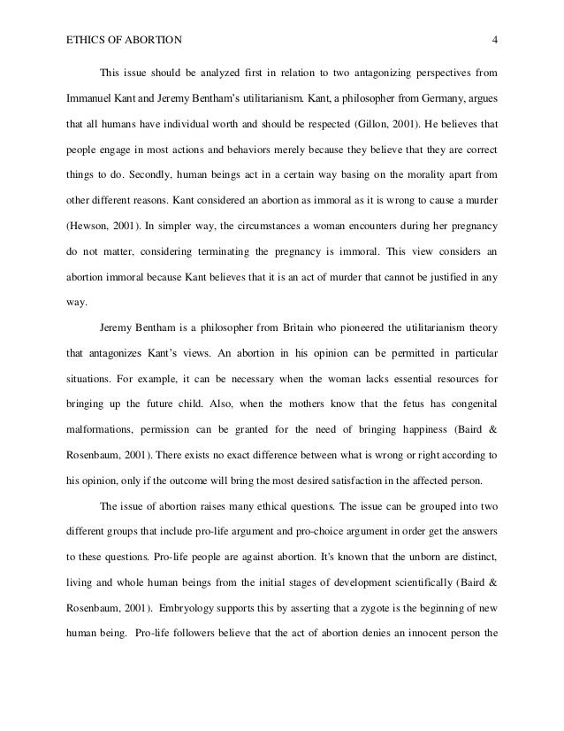 sample philosophy paper on abortion