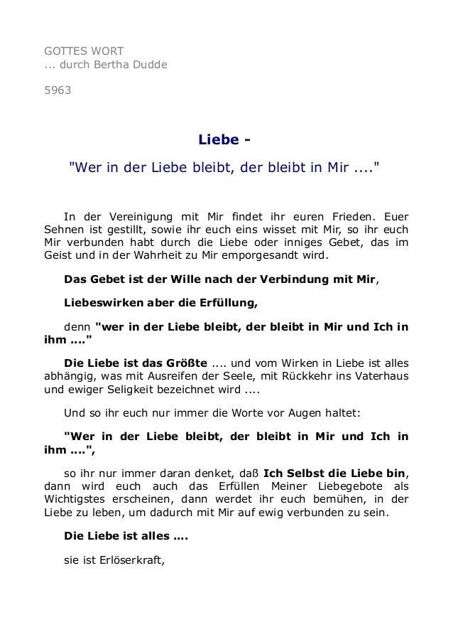 """GOTTES WORT  ... durch Bertha Dudde  5963  Liebe -  """"Wer in der Liebe bleibt, der bleibt in Mir ....""""  In der Vereinigung ..."""