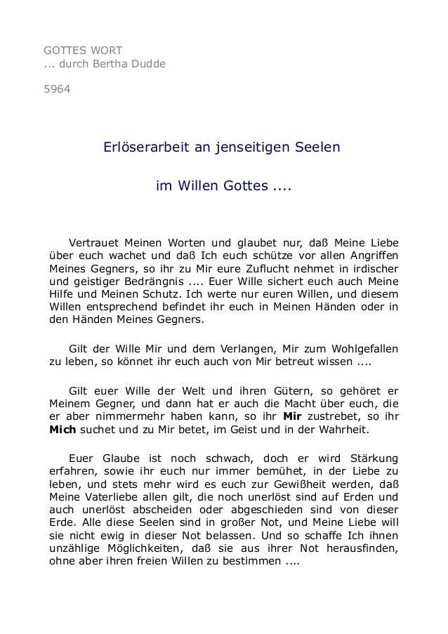 GOTTES WORT  ... durch Bertha Dudde  5964  Erlöserarbeit an jenseitigen Seelen  im Willen Gottes ....  Vertrauet Meinen Wo...