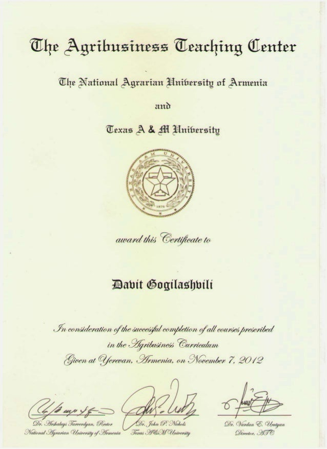 Certificate From Texas A&M