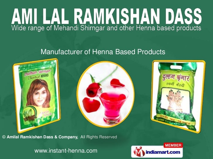 Manufacturer of Henna Based Products© Amilal Ramkishan Dass & Company, All Rights Reserved               www.instant-henna...