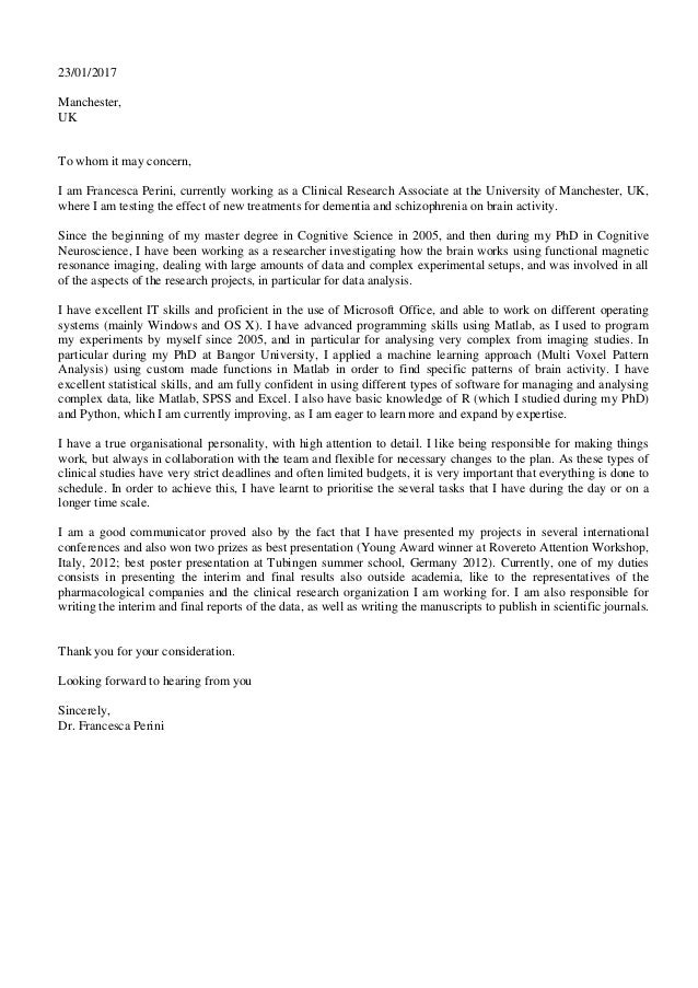 cover letter dr perini 23012017 manchester uk to whom it may concern i am - Cover Letter For Clinical Research Associate