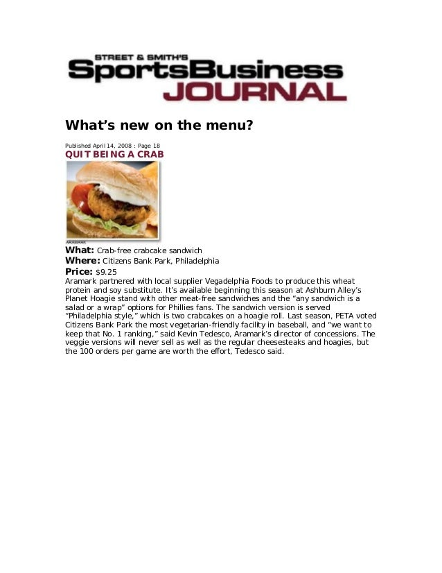 What's new on the menu? Published April 14, 2008 : Page 18 QUIT BEING A CRAB What: Crab-free crabcake sandwich Where: Citi...