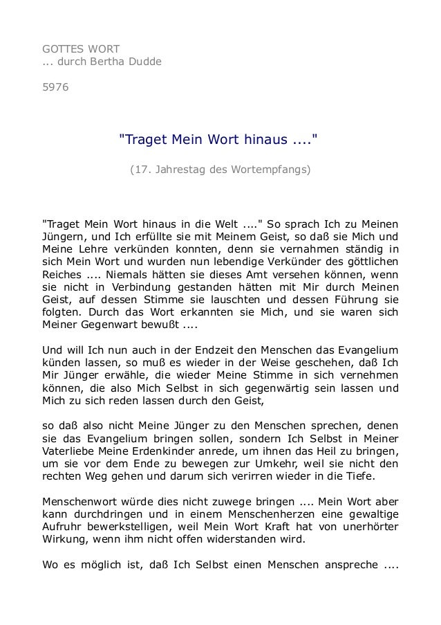 """GOTTES WORT  ... durch Bertha Dudde  5976  """"Traget Mein Wort hinaus ....""""  (17. Jahrestag des Wortempfangs)  """"Traget Mein ..."""
