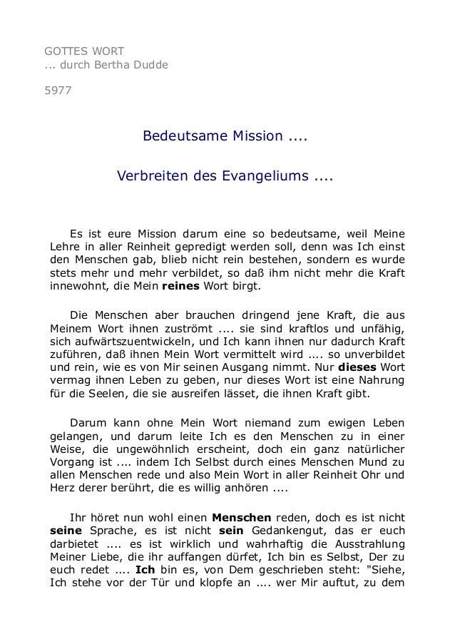 GOTTES WORT  ... durch Bertha Dudde  5977  Bedeutsame Mission ....  Verbreiten des Evangeliums ....  Es ist eure Mission d...