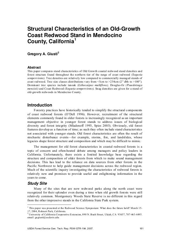 Structural Characteristics of an Old-Growth Coast Redwood Stand in Mendocino County, California1 Gregory A. Giusti2 Abstra...