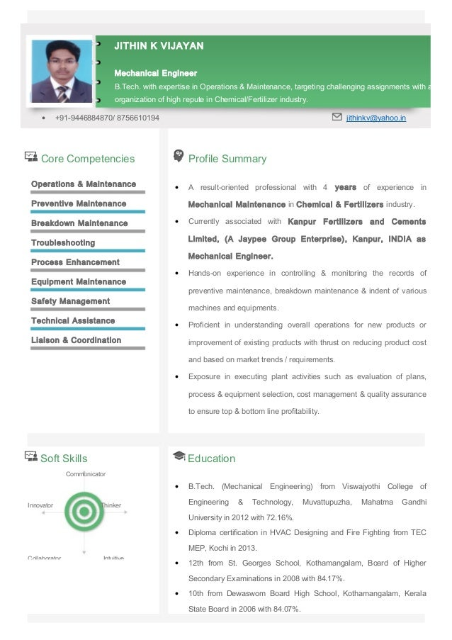 Core Competencies Profile Summary Operations & Maintenance Preventive Maintenance Breakdown Maintenance Troubleshooting Pr...