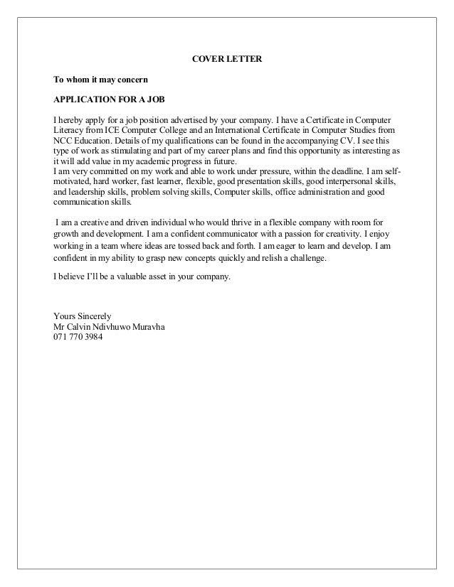 Application Letter Calvin Ndivhuwo