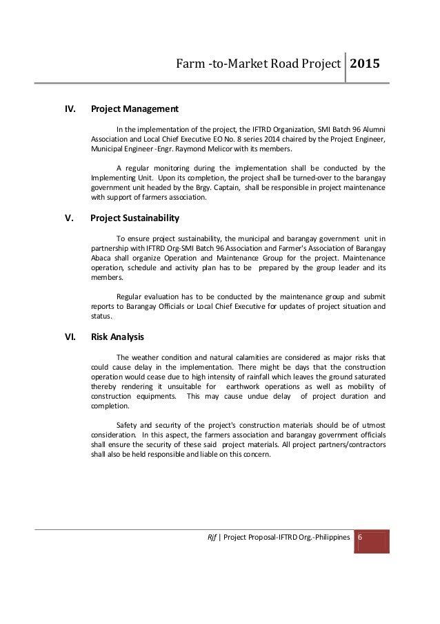 project proposal farm market road development mabini bohol
