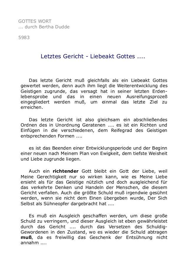 GOTTES WORT  ... durch Bertha Dudde  5983  Letztes Gericht - Liebeakt Gottes ....  Das letzte Gericht muß gleichfalls als ...