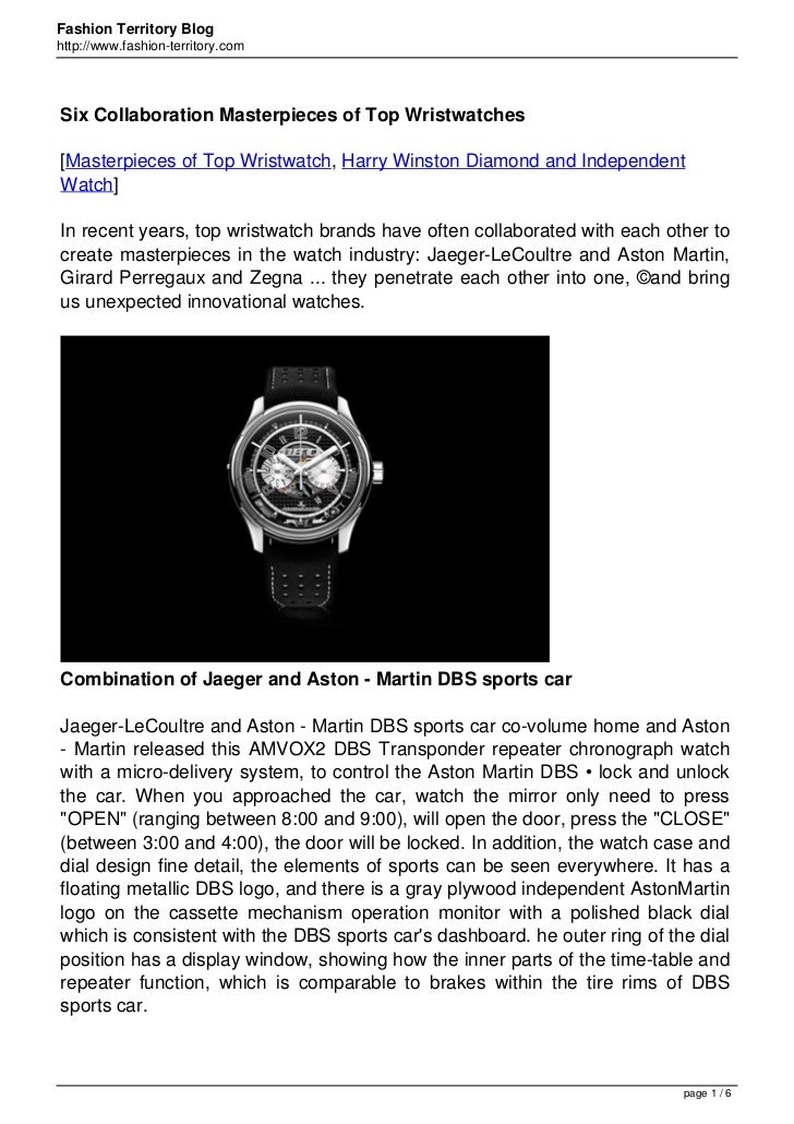 Fashion Territory Bloghttp://www.fashion-territory.comSix Collaboration Masterpieces of Top Wristwatches[Masterpieces of T...