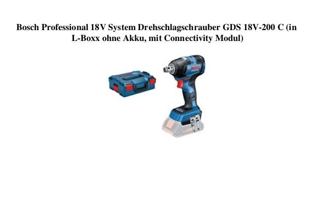 Bosch Professional 18V System Drehschlagschrauber GDS 18V-200 C (in L-Boxx ohne Akku, mit Connectivity Modul)