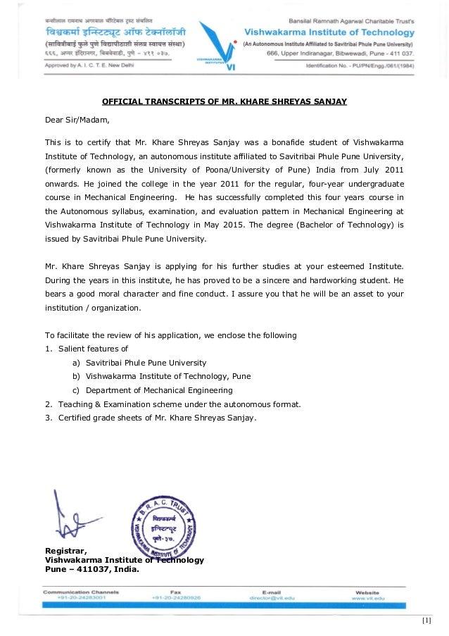 [1] OFFICIAL TRANSCRIPTS OF MR. KHARE SHREYAS SANJAY Dear Sir/Madam, This is to certify that Mr. Khare Shreyas Sanjay was ...