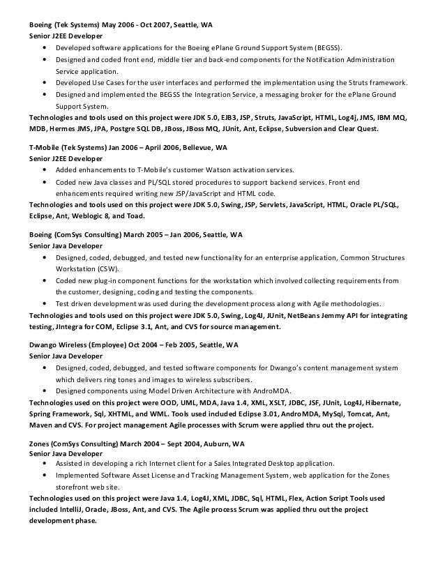 mq developer resume