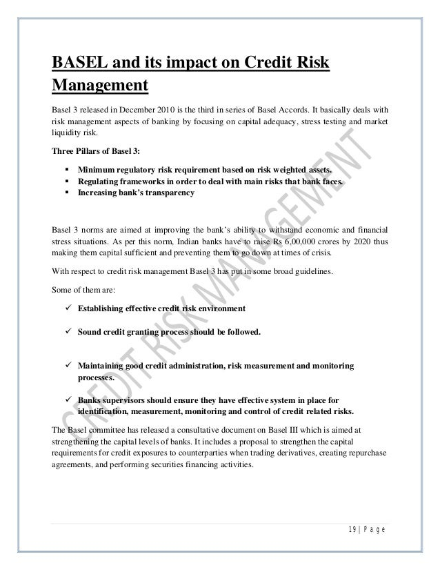 A report on Credit Risk Management in Banks – Risk Management Job Description