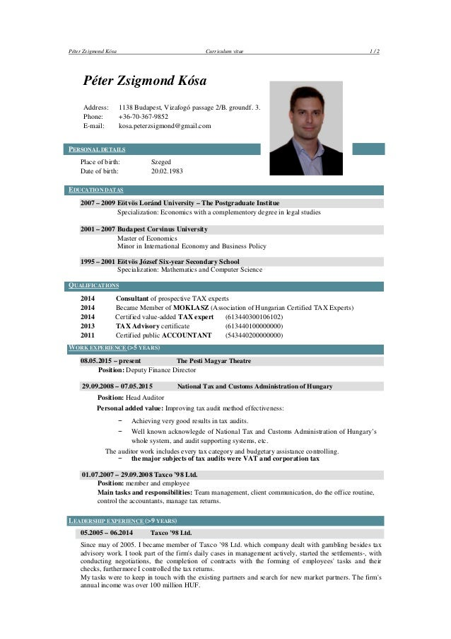kosa peter zsigmond english cv leader