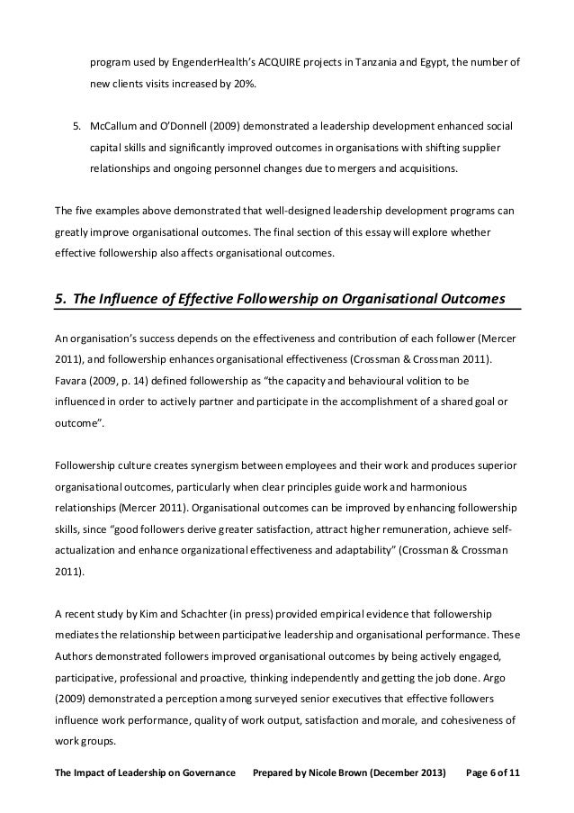 leadership and governance essay
