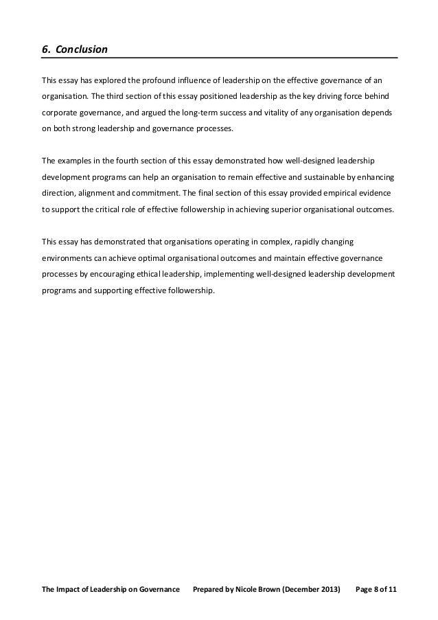 Leadership Conclusion Essay  My  Conclusions On Leadership Leadership Conclusion Essay Leadership Conclusion Essay