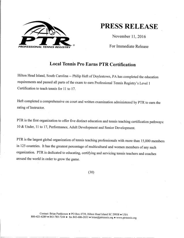 Ptr Cert Press Release
