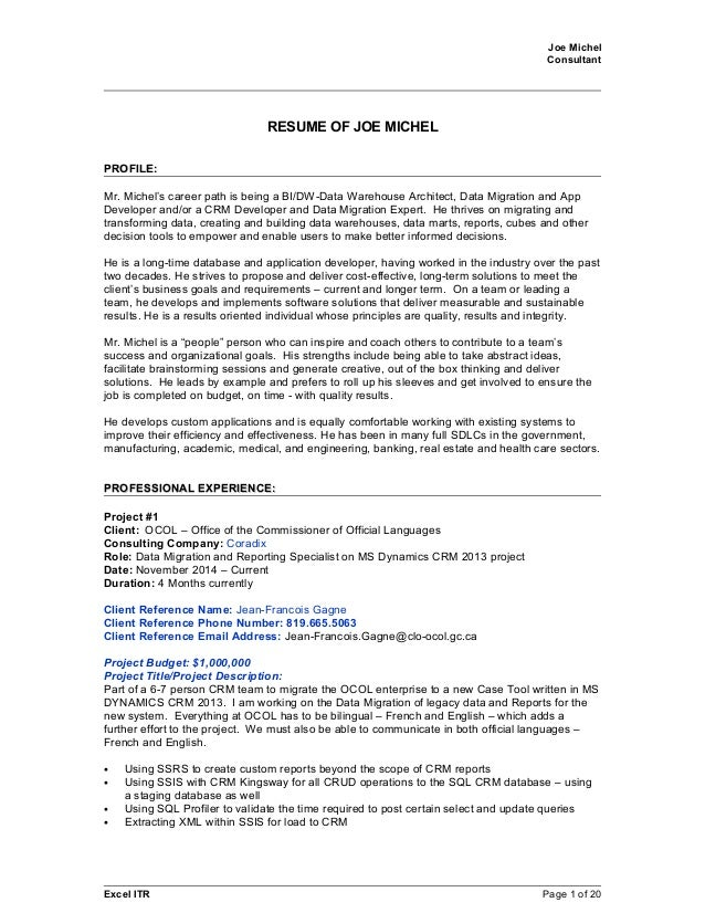 Joe Michel 2015April09 SQL CRM BI Resume With References For All Jobs