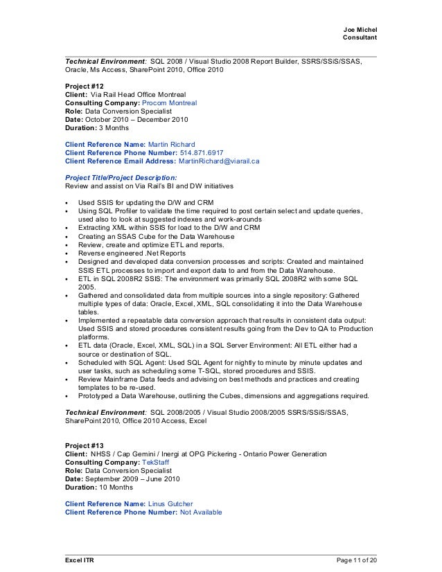 Excel ITR Page 10 Of 20; 11. Joe Michel Consultant ...