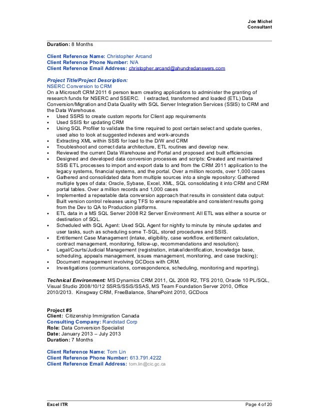 joe michel 2015april09 sql crm bi resume with references