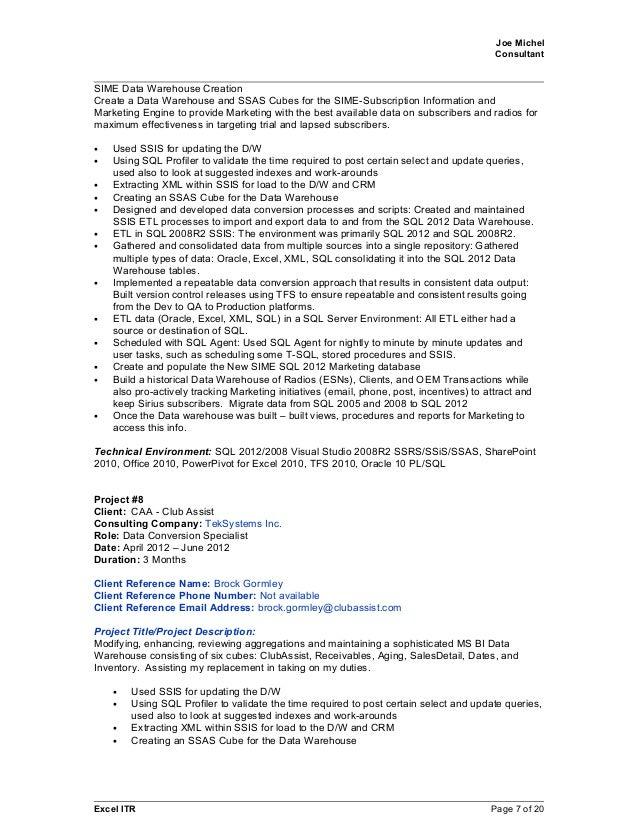 resume data warehouse