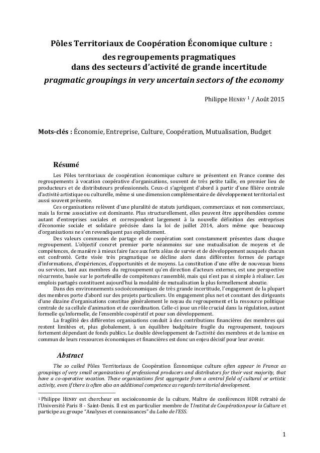 1 Pôles Territoriaux de Coopération Économique culture : des regroupements pragmatiques dans des secteurs d'activité de gr...