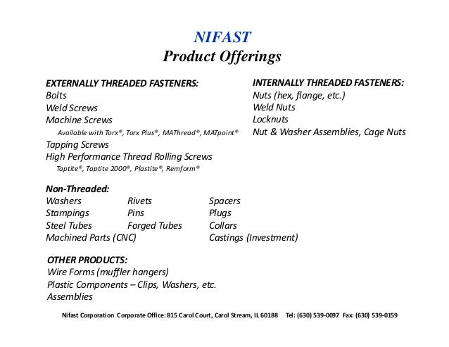 Nifast Product Offerings