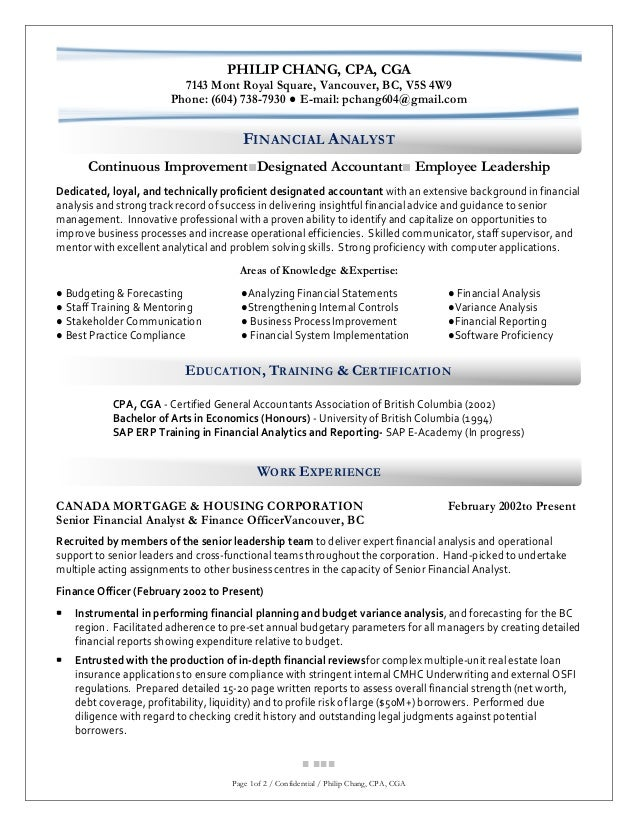 PHILIP CHANG, CPA, CGA 7143 Mont Royal Square, Vancouver, BC, ...  Resume For Cpa