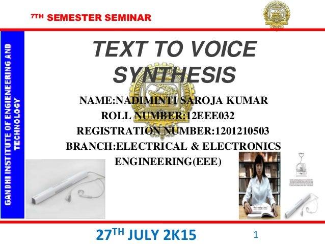 7TH SEMESTER SEMINAR NAME:NADIMINTI SAROJA KUMAR ROLL NUMBER:12EEE032 REGISTRATION NUMBER:1201210503 BRANCH:ELECTRICAL & E...