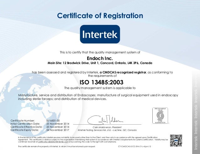 Endoch Inc Iso 13485 Certificate