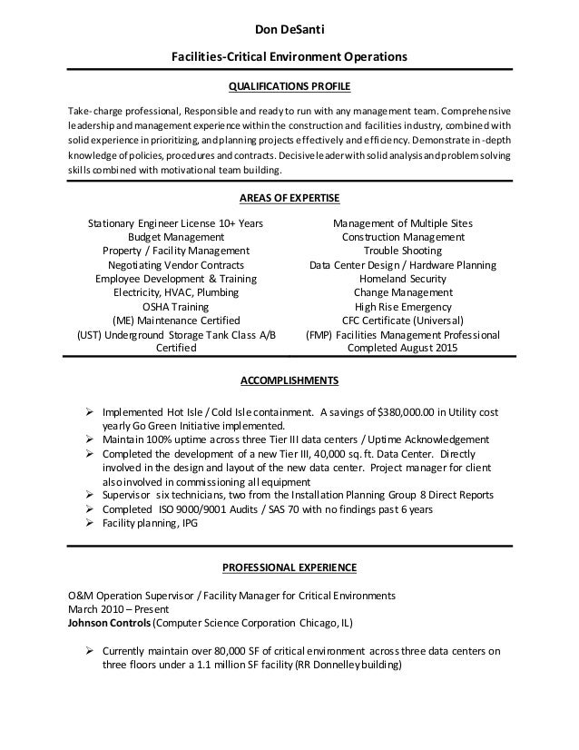 Captivating Don DeSanti Facilities Critical Environment Operations QUALIFICATIONS  PROFILE Take  Charge Professional, Responsible And ... Intended For Building Manager Resume