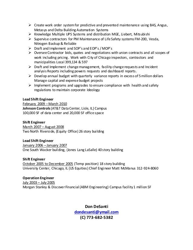 facility rr donnelley building 2 - Facility Manager Resume