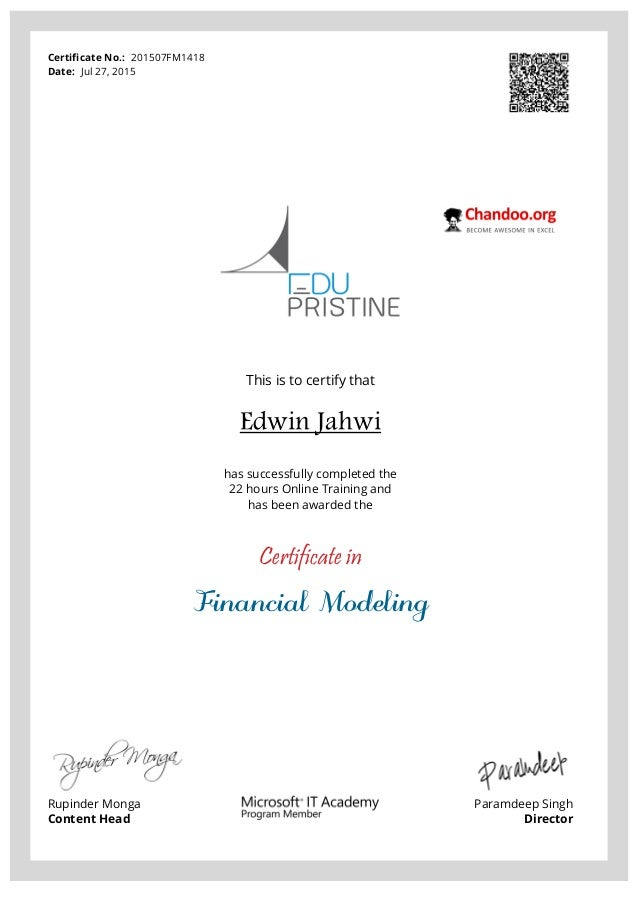 financial modelling certificate