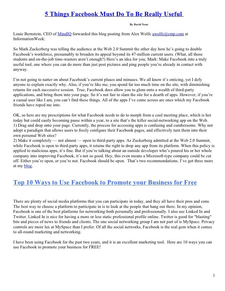 5 Things Facebook Must Do To Be Really Useful                                                                      By Davi...