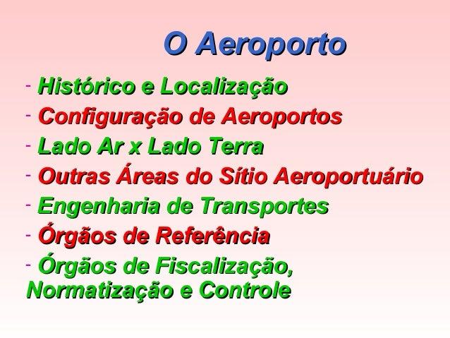 O Aeroporto Histórico e Localização - Configuração de Aeroportos - Lado Ar x Lado Terra - Outras Áreas do Sítio Aeroportuá...