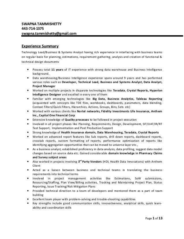 ... Cover Letter Business Support Analyst ... SWAPNA TAMMISHETTY 443 714  1375 Swapna.tammishetty@gmail.com Experience Summary .