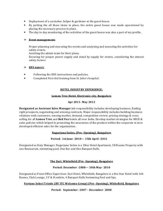Niedlich Bankett Hall Assistent Manager Lebenslauf Ideen - Beispiel ...