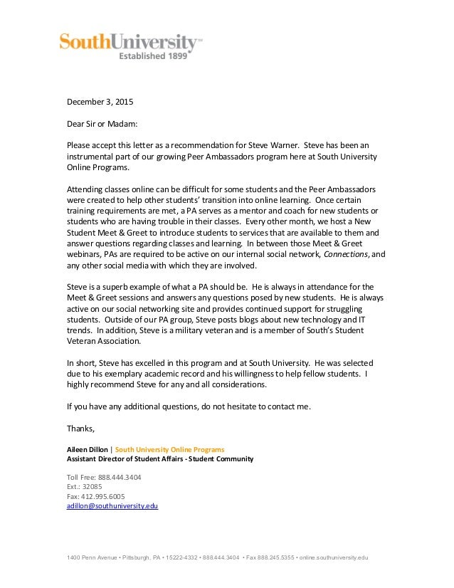 pa recommendation letter s warner