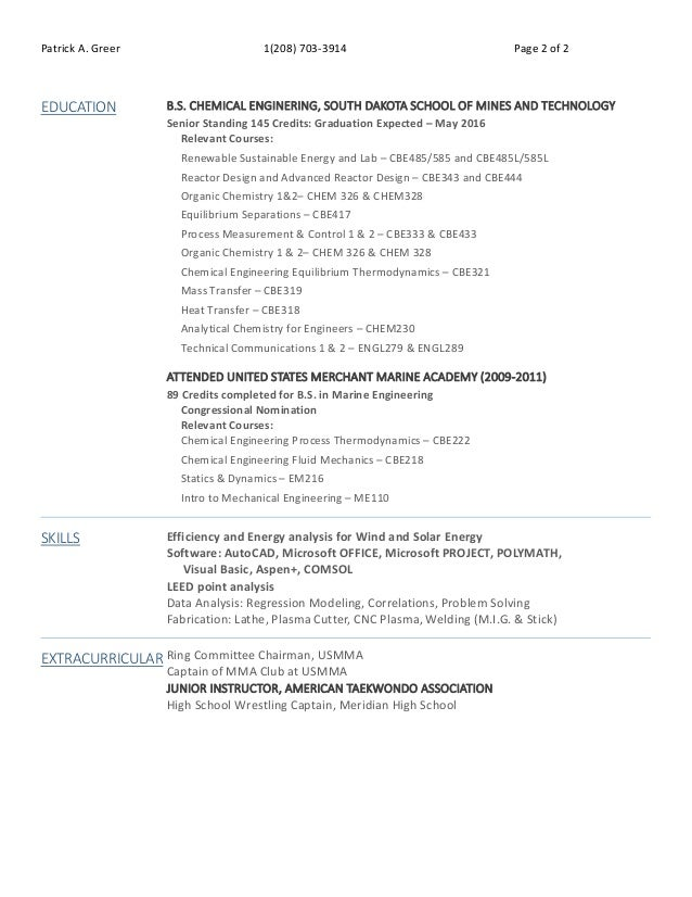 Patrick Greer Senior Resume