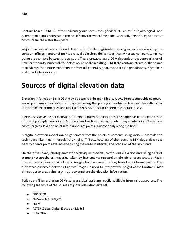 Digital Elevation Model, Its derivatives and applications