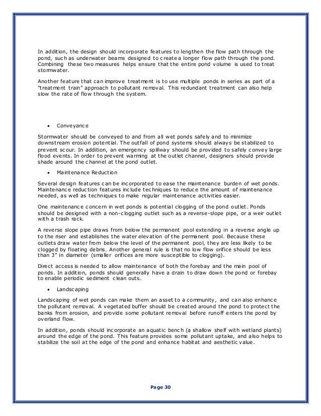 Senior design report for Design criteria of pond