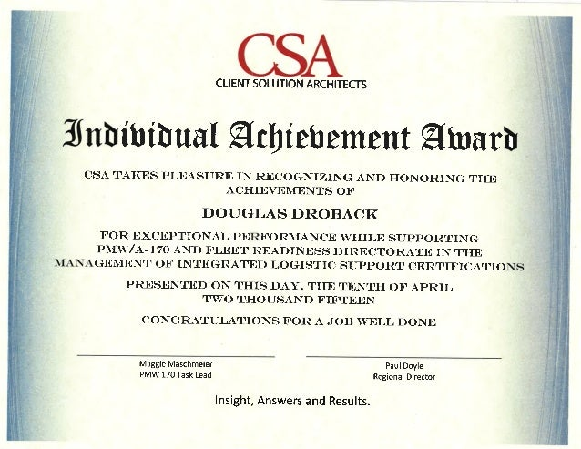 dau cert achievement award